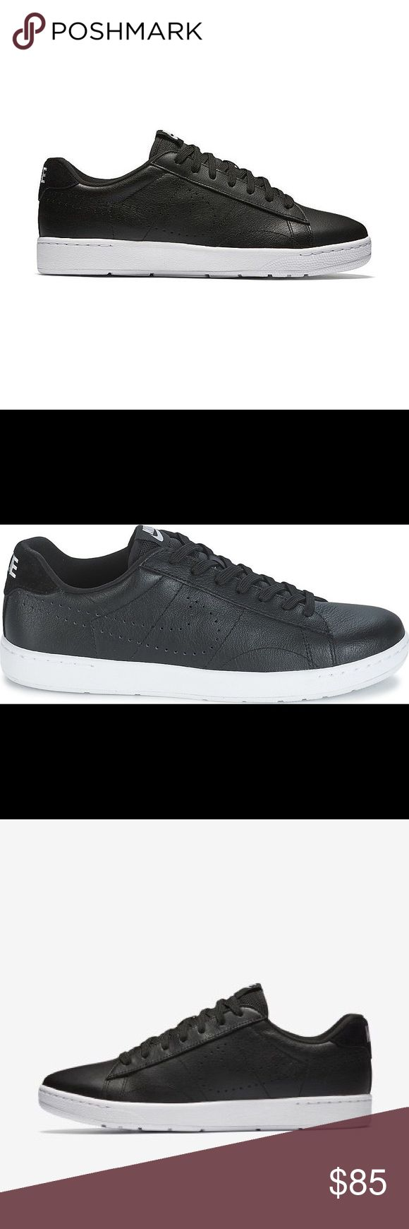 NIKE TENNIS CLASSIC ULTRA LEATHER SHOES MEN BLACK 100% Authentic!!! * Nike Tennis Classic Ultra Black Leather/White Nike #749644 004 Classic court-inspired low top silhouette in all leather for a smooth look. For the suave only. Great casual sneaker that goes great with jeans for a night out on the town. Ignite your style with some with an old school tennis icon with the Men's Nike Tennis Classic Casual Shoes.  NO BOX Nike Shoes Sneakers