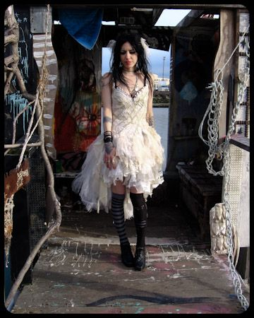 White Tattered Tulle Dress