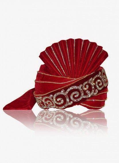 Alluring Crimson Red Velvet Turban