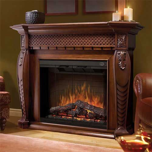 electric fireplace heater with ornate design - gorgeous!