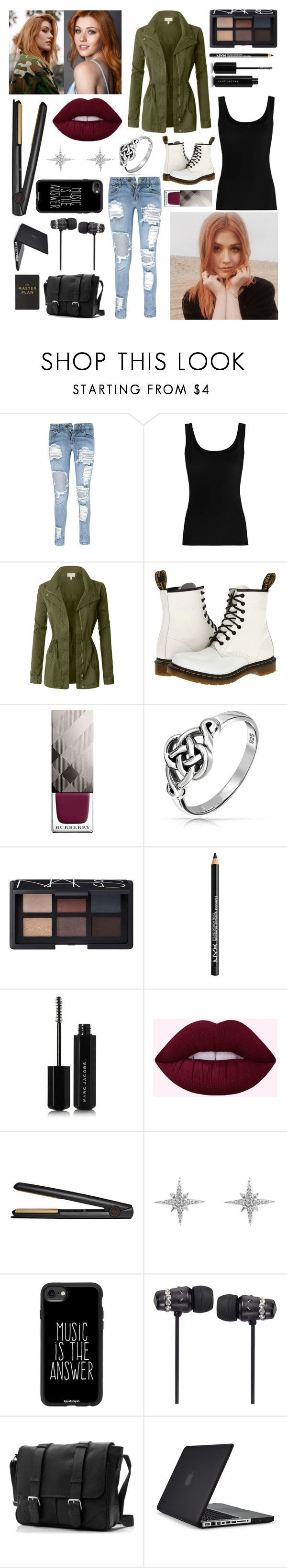 """""""Avis' College orientation outfit"""" by the-annoying-fangirl ❤ liked on Polyvore featuring Boohoo, Twenty, LE3NO, Dr. Martens, Burberry, Bling Jewelry, NARS Cosmetics, NYX, Marc Jacobs and GHD"""