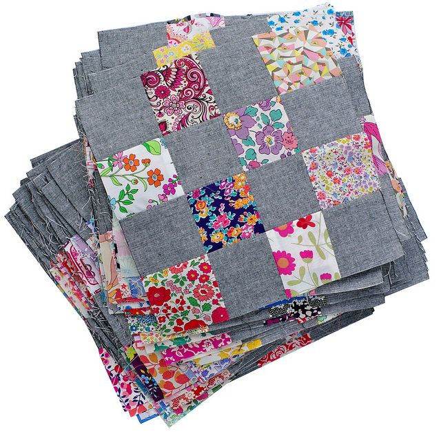 Liberty and Chambray Patchwork Blocks - Red Pepper Quilts MELANGE YARD DYED IN BLACK BY LECIEN - need to check out this fabric.