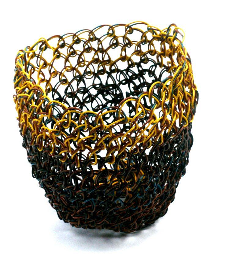 ©2013, Maritza Noa-Cabrera, Yellow. #wiresculpture #wovensculpture #basket.Sold