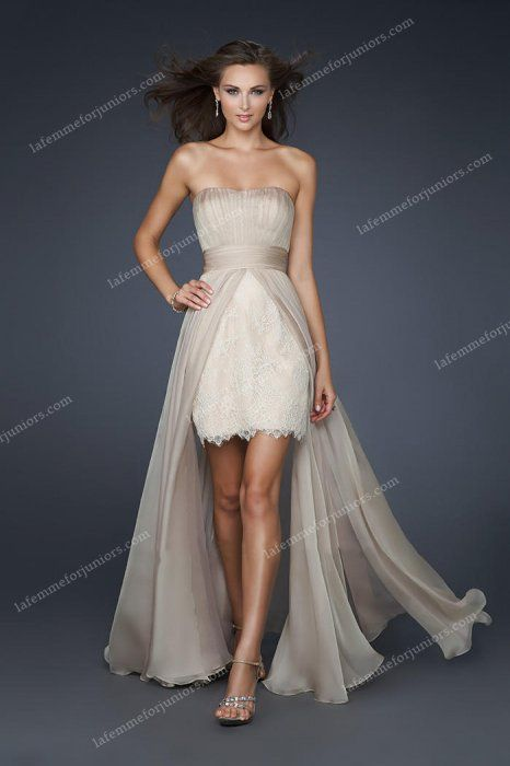 Sheer Overlay Lacy High Low Nude Prom Dress by La Femme 17547