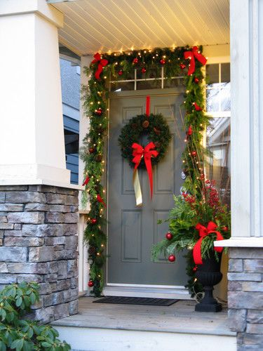 Christmas decorating front door entrance way