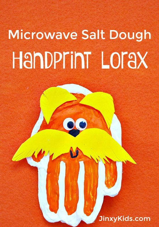 This Handprint Lorax Craft with Microwave Salt Dough is the perfect activity to celebrate the birthday of Dr. Seuss!