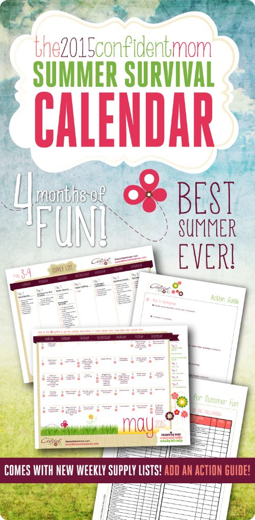 Moms Summer Survival Calendar — Keep your kids engaged all summer long with this calendar of activities!