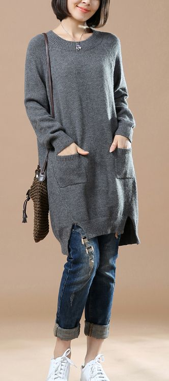 Gray cute baggy woman sweaters knit dresses
