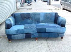 Recycled denim sofa