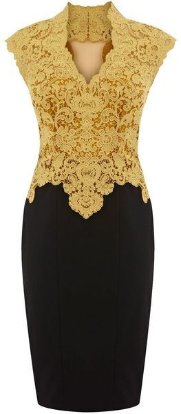 I love this dress.This classy look works because of the gold lace top with mandarin collar and the black pencil skirt