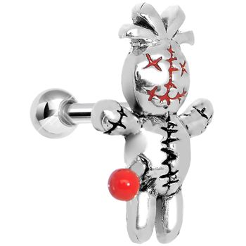 Silver Red Pin Ugly Voodoo Doll Tragus Cartilage Earring | Body Candy Body Jewelry