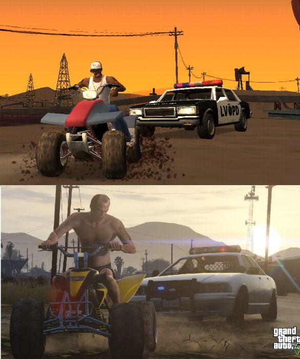 Screenshot Comparison: GTA San Andreas vs GTA V - GTA 5 Cheats | Gta