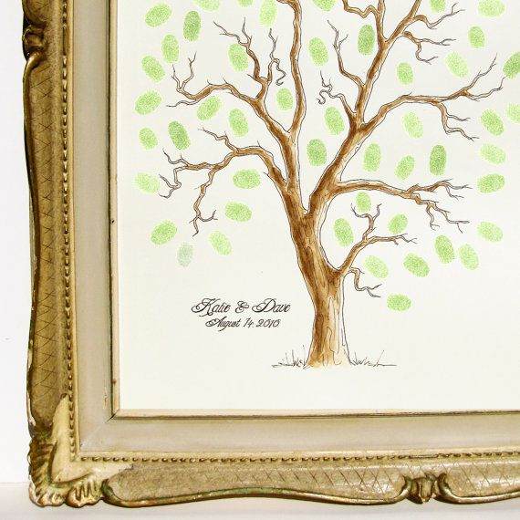 art that has meaning: Books Families, Watercolor Paintings, 125 Guest, Trees Guest Books, Tree Guest Books, Thumbprint Trees, Families Trees, Wedding Trees, Paintings Thumbprint
