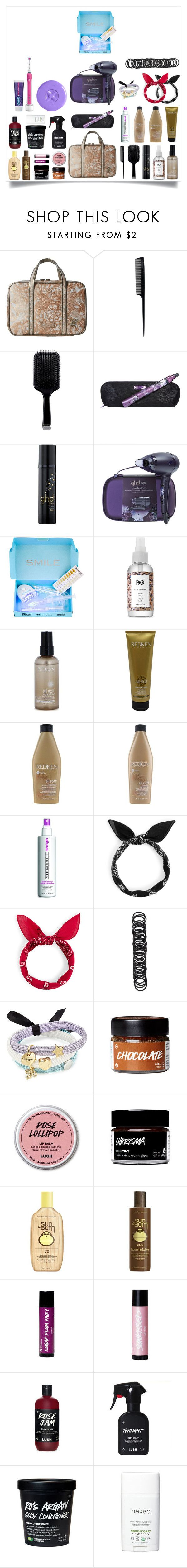 """""""Travel crap"""" by littlewhitedaisy ❤ liked on Polyvore featuring beauty, Sakroots, GHD, Smile Sciences, R+Co, Redken, Paul Mitchell, Forever 21, Marc Jacobs and Sun Bum"""
