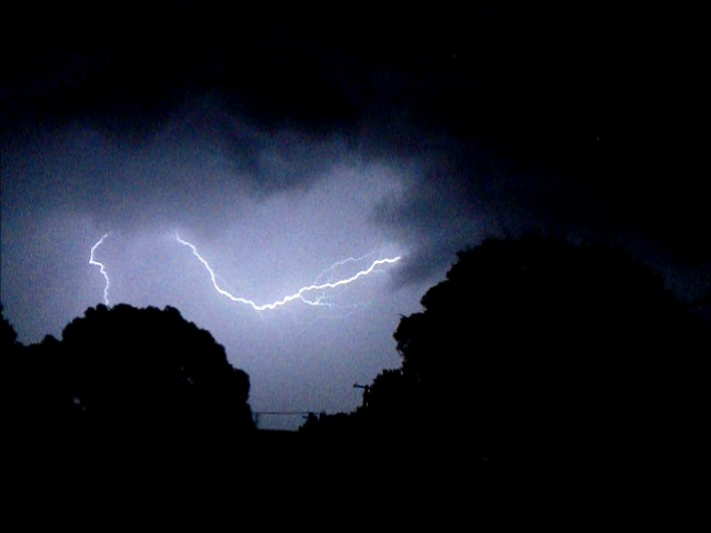 Lighting storm in the backyard