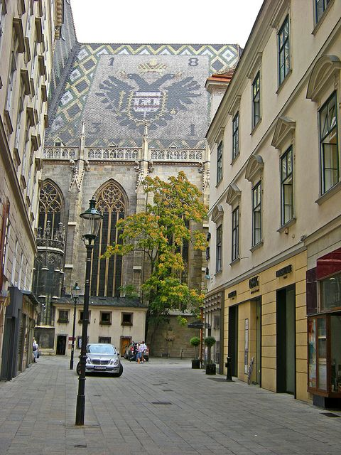 side street by St. Stephens Cathedral, Vienna, AUSTRIA.  We stayed for a week here in 2000 as daughter dearest was a student at the University of Vienna.  We also stayed for several days in 2004.