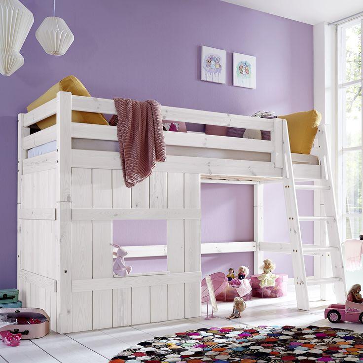Hütten Hochbett Kids Paradise Für Mädchen In Weißem Holz
