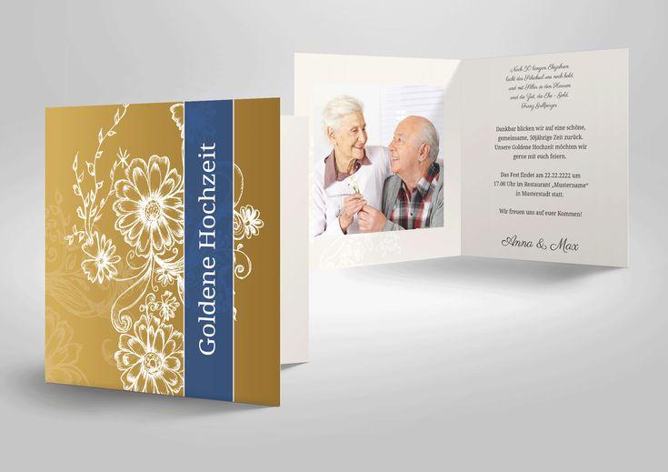 einladungskarte zur goldenen hochzeit in goldfarben mit
