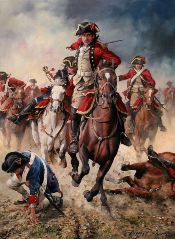 """""""El regimiento España cargando contra los franceses en 1793"""" de Augusto Ferrer-Dalmau"""