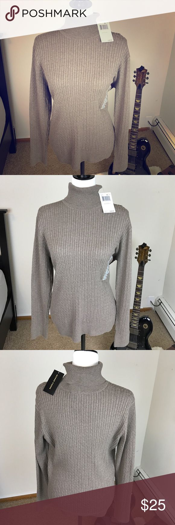 Jeanne Pierre Turtleneck in Taupe Heather Please feel free to ask any questions, bundle, or make an offer:) Jeanne Pierre turtleneck in taupe heather color. Size women's XL. New with tags. Jeanne Pierre Sweaters Cowl & Turtlenecks