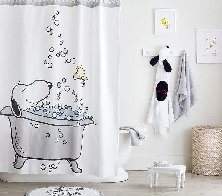 Peanuts Shower Curtain In 2020 Kids Shower Curtain Small Bathroom Decor Bathroom Decor