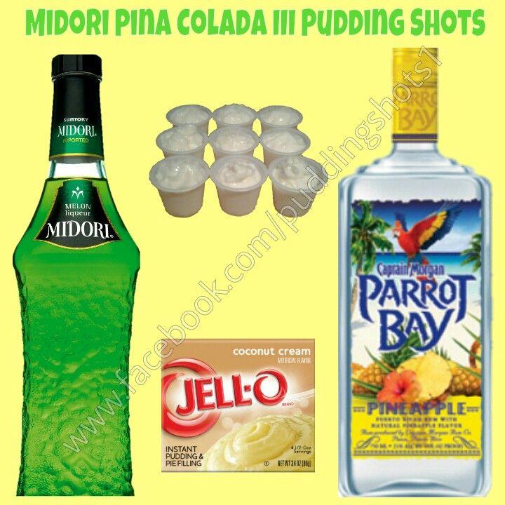 Midori Pina Colada III Pudding Shots.  See full recipe and more on www.facebook.com/puddingshots1
