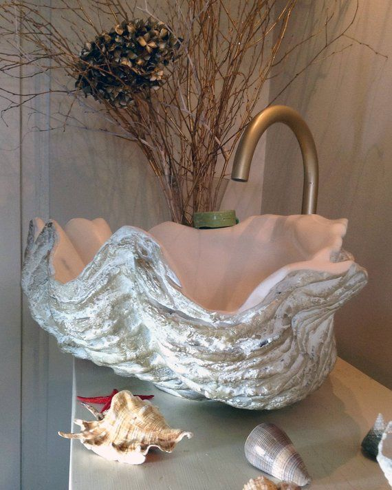 Giant Clam Shell Bathroom Sink Wash Basin Vessel Bowl Counter Top Cloakroom In White & Bronze Highlights Sculpture Art