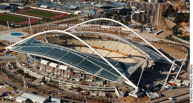 Olympic Stadium - Athens - Summer 2004. Roof designed by Architect Santiago Calatrava.