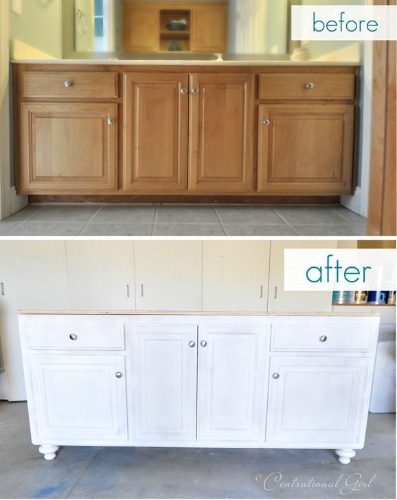 Add a new base and furniture legs (and paint) to a builder grade vanity to give a custom, updated look