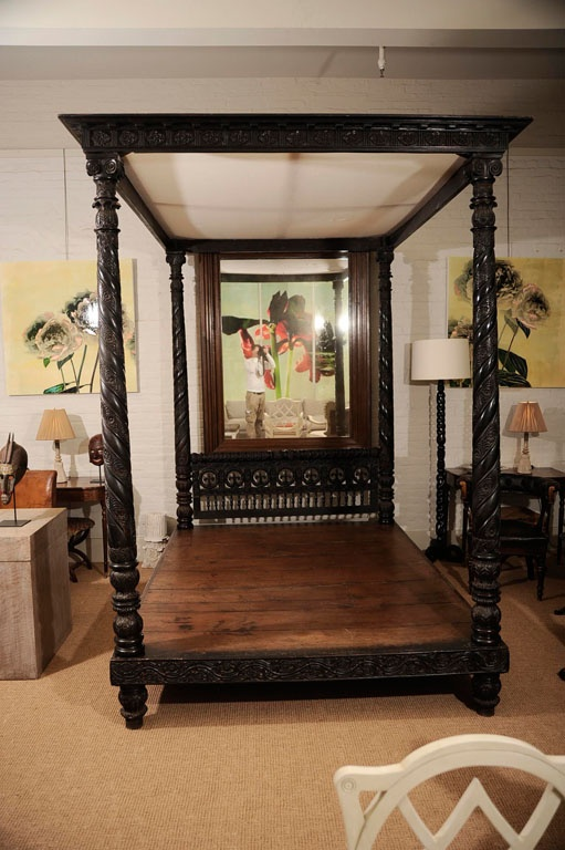 India 1825 35 The Bed Carved Throughout With Floral And Foliate Motifs