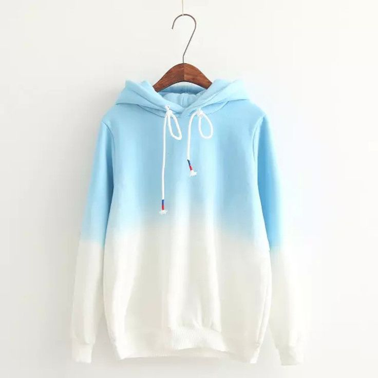 gradient color korean hooded long sleeves hoodie - Hoodie Design Ideas