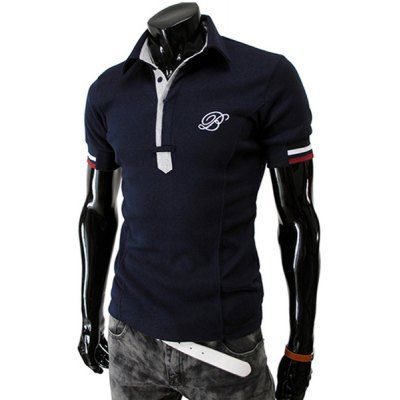 Stylish Turndown Collar Slimming Color Block Placket Stripe Splicing Short Sleeve Polyester Polo T-Shirt For Men-11.63 and Free Shipping| GearBest.com