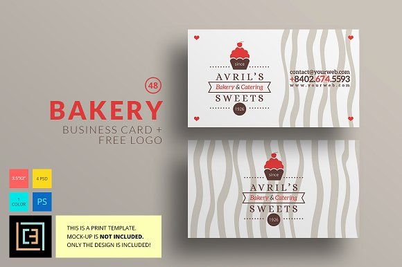 Bakery - Business Card 48   Logo Templates **NOT WHAT YOU'RE LOOKING FOR? FIND MORE BUSINESS CARDS HERE:https://creativemarket.com/cooledition by Cooledition