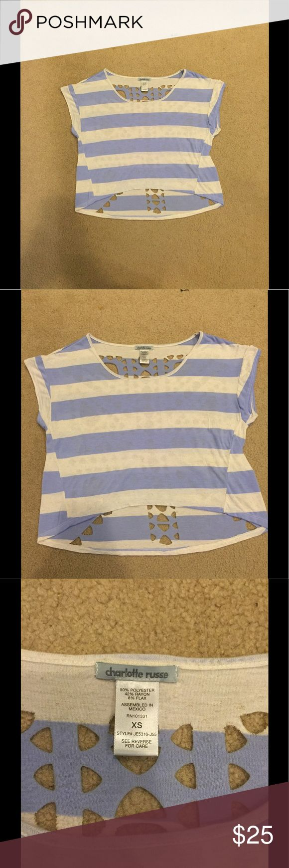 Charlotte Russe Boxy Crop Top This top is from the store Charlotte Russe. It comes in the size extra small (xs) and is in a perfect brand new looking condition, considering its only been worn once. It's periwinkle and white striped, both front and back, and had a beautiful cut-out detail design on the back of the top. It's a boxy high-low crop top. But not super cropped at all. It's super cute and summery. Charlotte Russe Tops Crop Tops