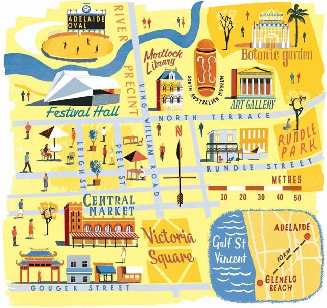 Anna Simmons - Map of Adelaide for National Geographic Traveller