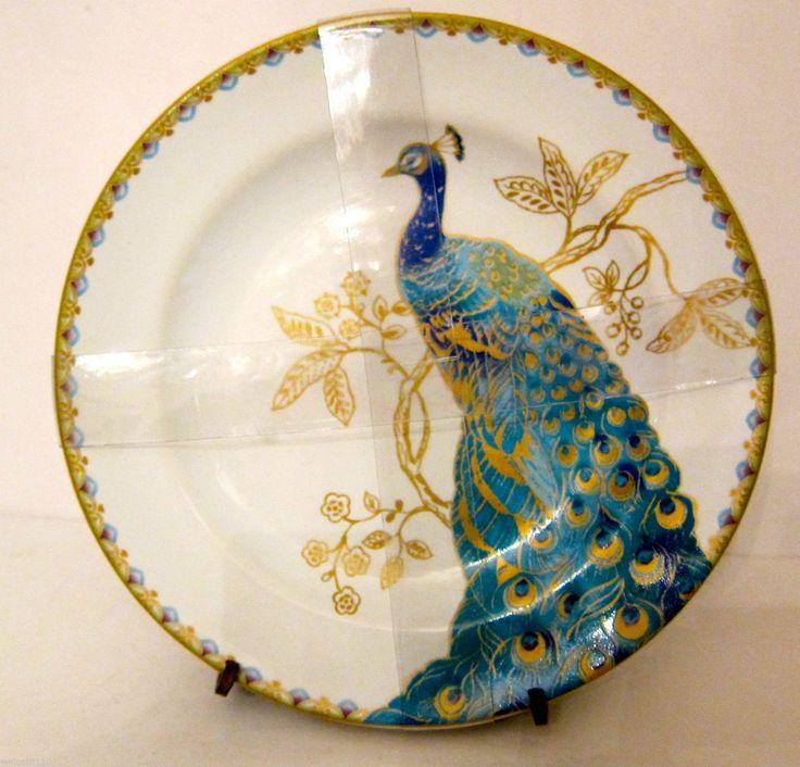 222 Fifth Turquoise Peacock Garden Dessert Appetizer Plates Set 4 Beautiful  | EBay US $29.95
