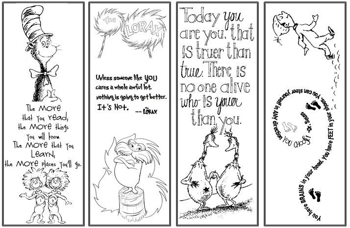 Read Across America Dr. Seuss Bookmarks    You can download my bookmarks  at http://www.mpsaz.org/lowell/staff/rxdiaz/read_across_america