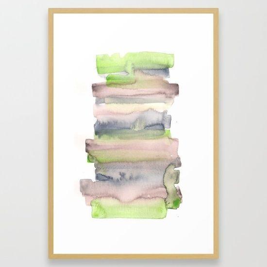 26 x38  FRAMED Watercolour Green Fine Art Giclee Print