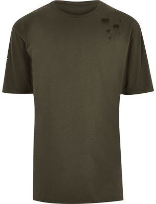 River Island Mens Khaki green distressed oversized T-shirt