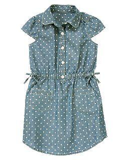 Dot Chambray Shirt Dress, Crazy8.com