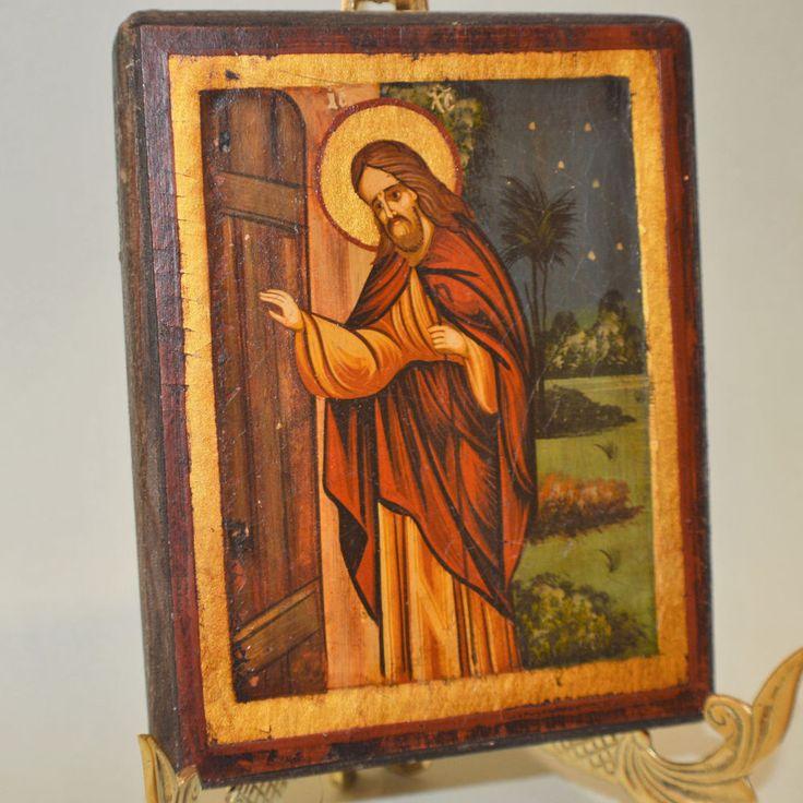 Orthodox Icon Handmade Handpainted Greek Byzantine Jesus Christ Old Wood