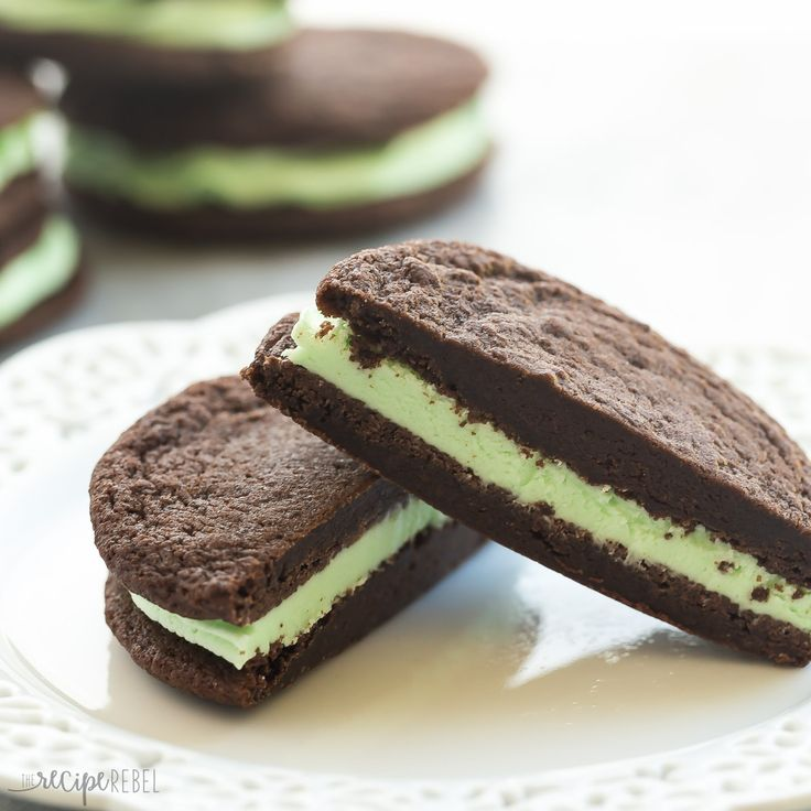 homemade fudgy chocolate cookie and are filled with mint buttercream ...