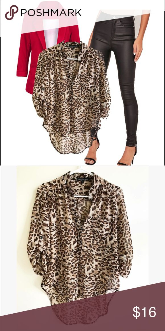 Leopard print hi low top Nella Fantasia Top | Size: S | Leopard print | Such a Flattering Top | looks great with leggings or skinnies | Tops Blouses