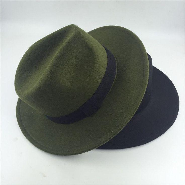 2017 Fashion Fedora Hat For Women Men Vintage Jazz Hat chapeu homme panama Church women fall fedora top Hats green black pink #HatsForWomenVintage