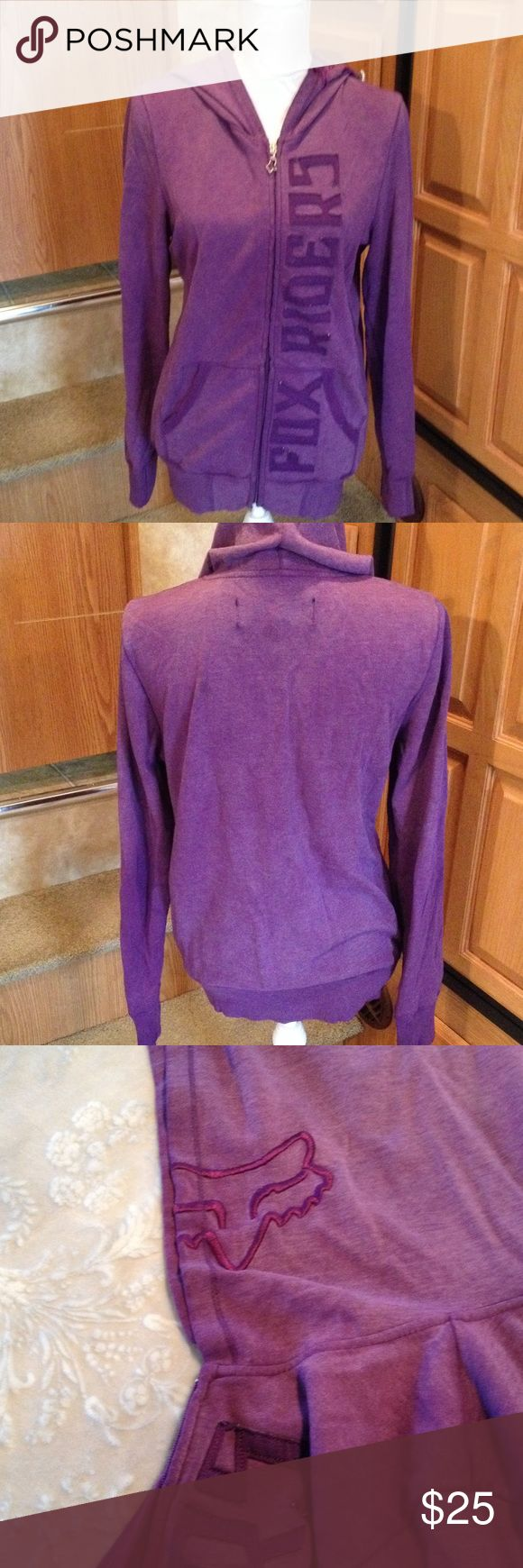 Fox Racing Purple Zip Up Hoodie L Pre-loved shows normal signs of wear. Please note there is a tiny hold in right sleeve on cuff (pic 4). I do NOT trade. Fox Jackets & Coats