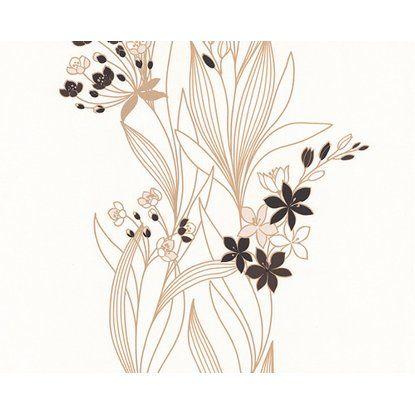 Tapéta 2373-23 habosított virágmintás barna-fehér