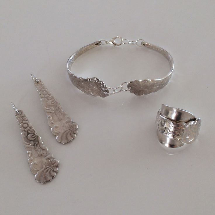 Jewelry collection from spoons – ring, bracelet and earrings