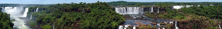 Panorama of the Iguazu waterfalls from Brazil