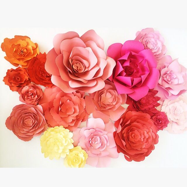 Pink and Orange paper flowers by PaperFlora.com