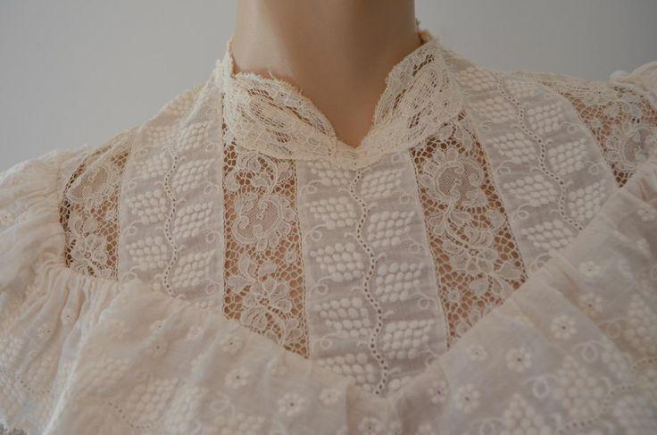 Edwardian Tea Wedding Dress Train Ruffles Fine Lace Pin Tuck Pleats sz XS by luvkitsch on Etsy